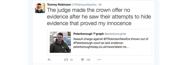 Tommy Robinson - case dismissed