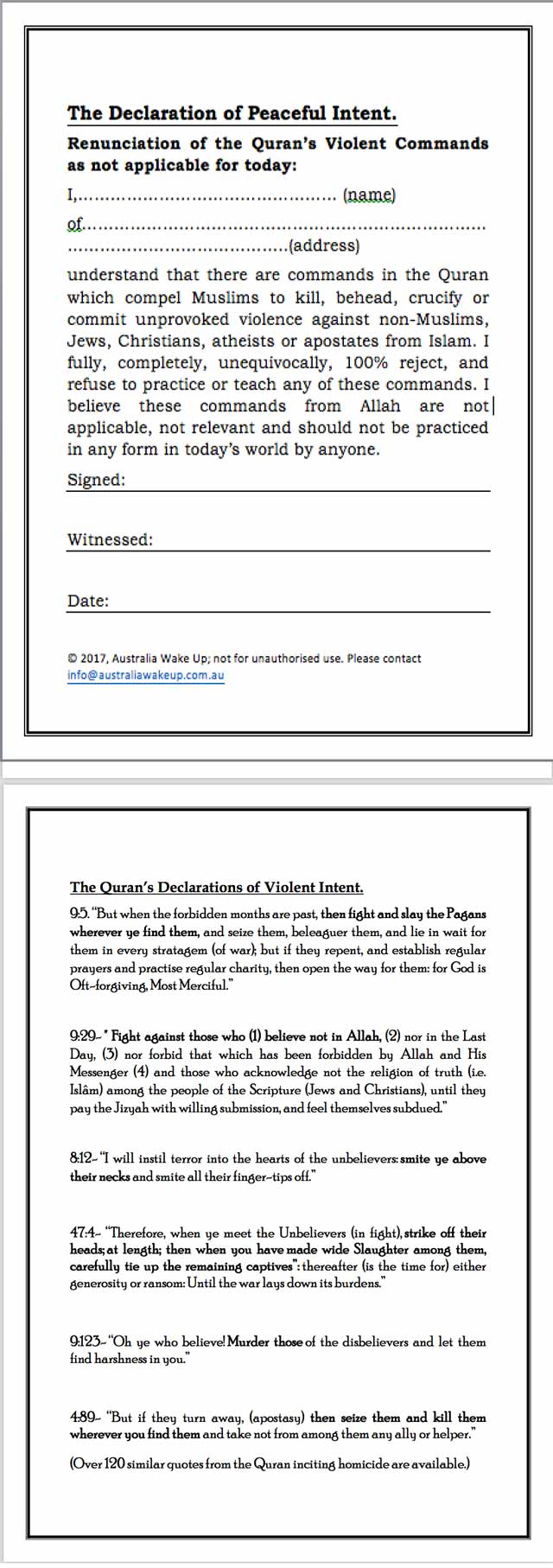 Declaration of Peaceful Intent for Muslims